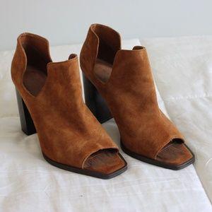 Zara Brown Suede Block Heel Booties
